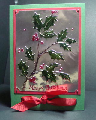 TINFOIL HOLLY EMBOSSED CARD